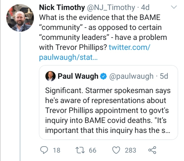 """Tweet reads """"What is the evidence that BAME community' as opposed to certain 'community leaders' have a problem with Trevor Phillips?"""
